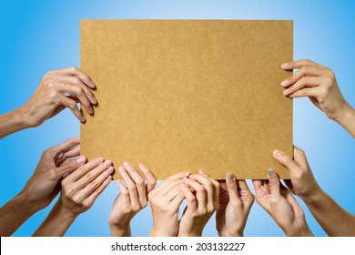People holding blank bord on blue background