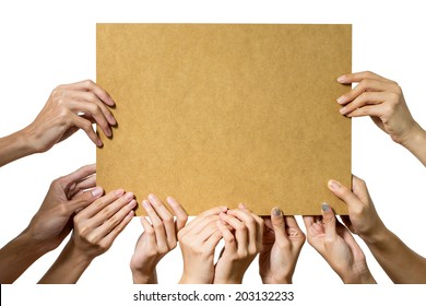 People holding blank bord on white background