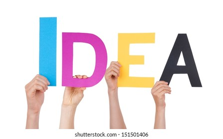 People Holding the Colorful Word Idea, Isolated
