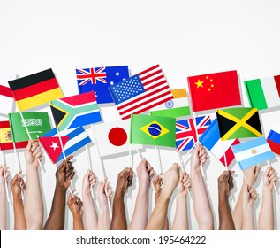 People holding flags of their country.