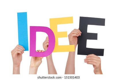 People Holding the German Word Idee Which Means Idea, Isolated