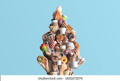 La gente está sosteniendo tazas y tazas de papel de café y postres. Concepto sobre el tema de los cafés y el café. Árbol de Navidad.