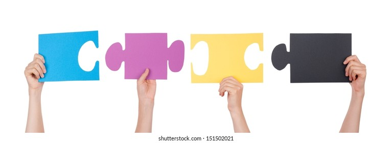 People Holding Pieces of a Puzzle, Isolated