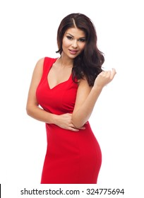 people, holidays and fashion concept - beautiful sexy woman in red dress