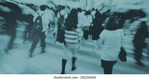 People in Hong Kong Walking Cross Road Concept
