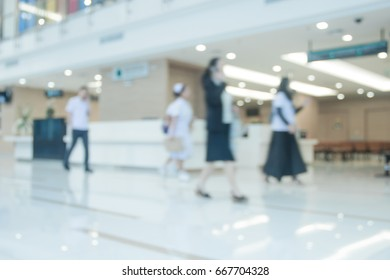 people  in hospital corridor with Blurred clean background.