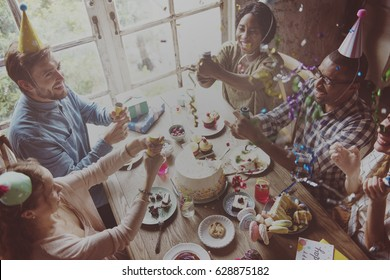 People joining birthday party smiling happiness