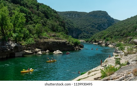 People kayaking in the Gorges de l'Adeche in France