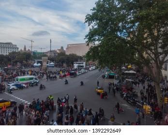 People in Las Ramblas, street of Barcelona, Spain. Aerial Photo. Year 2014