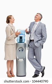 People laughing next to the water dispenser against white background