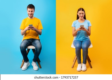 People Lifestyle Concept. Casual woman and man sitting on chairs and using their smart phones - Shutterstock ID 1793717257