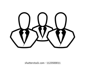 People line icon. Outline persons solid, group linear black pictogram. Simple image business collective people. Labor men collective silhouette. Office staff icon, bodyguards. Employees of bank