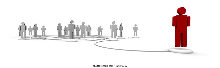 People linked by communication lines that start from one red person out in front of the crowd.