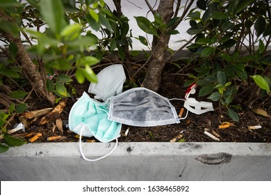 People littering of garbage of used medical masks throw in the crevices of the bushes,hazardous waste,risk of disease,spread of germ,Covid-19,flu,Influenza,concept of throw trash in a trash can