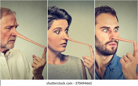 People with long nose isolated on grey wall background. Liar concept. Human face expressions, emotions, feelings.