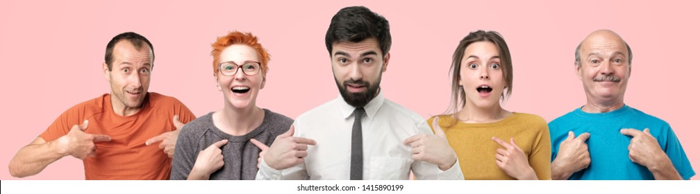 People looking at camera pointing at them being surprised to be choosed
