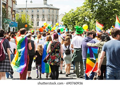 People marching in Dublin gay pride, June 24 2017 Pride marks overcoming inequalities and injustice and festival has become a celebration of diversity in modern Ireland.