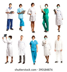 People in medical overalls isolated on white background