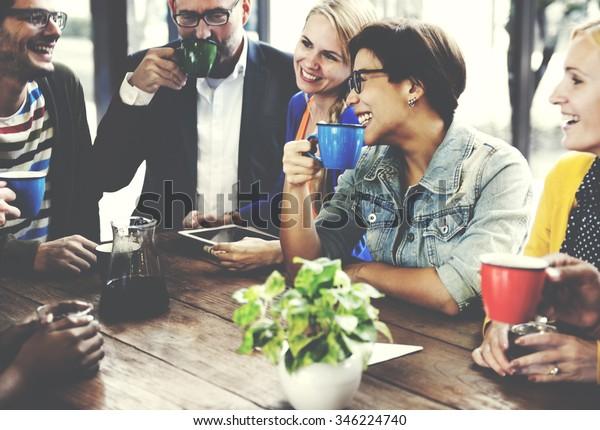 Люди Встреча Дружбы Точность Кофейня Концепция