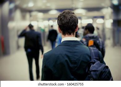 people in metro