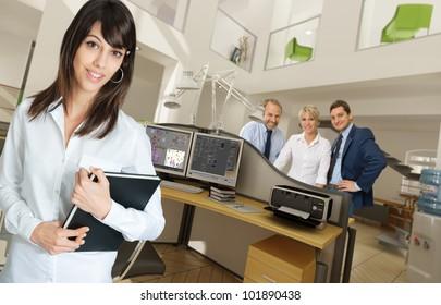 People in a modern beautiful office