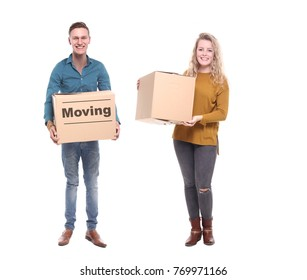 People with a moving box