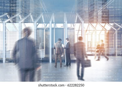 People near a house framed CEO office with a large table, a chair and two black guest armchairs standing in front of it. 3d rendering, toned image, double exposure.