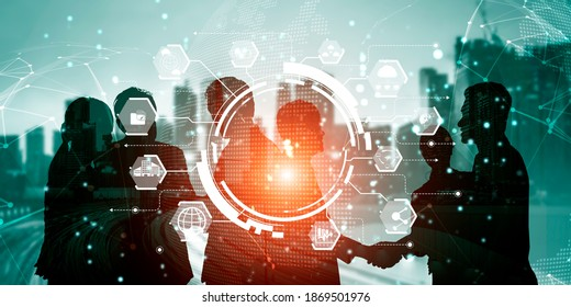 People network and international communication concept. Business people with modern graphic interface of community linking many people around world by social media to connect international business.