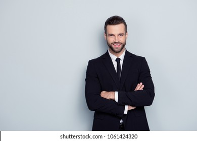 People occupation leadership profession concept. Portrait of cheerful excited confident handsome smart intelligent modern with stylish hairdo expert representative isolated on gray background