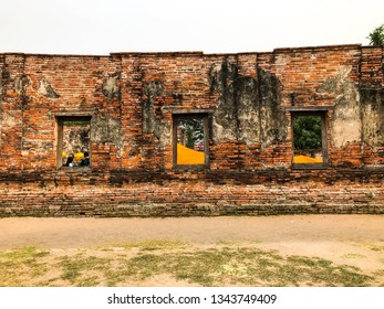People is in old church for pray image buddha statue in ayuttaya thailand