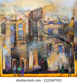 People in old town, oil painting artwork