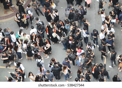 people on above view in graduation rehearsal at Thammasat University's Tha Phrachan campus, Photo on 6 Nov 2016