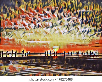 People on beach during sunset. Sunset beach digital illustration. Sea and sky landscape. Bright sun going down. Evening on asian island. Colorful artwork with ocean view. People silhouettes in sun