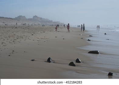 People on the beach in Lacanau, France