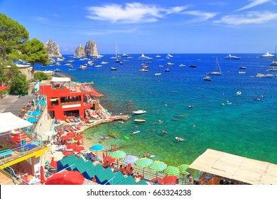 People on the beach at Marina Piccola in Capri, Capri island, Italy