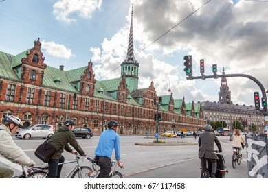 People on bicycles in Copenhagen, Denmark, July 2017. Editorial image