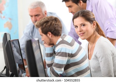 People on a computer course