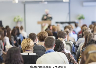 People on the Conference. Back View. Horizontal Image