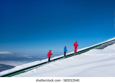 People on a magic carpet in the mountain