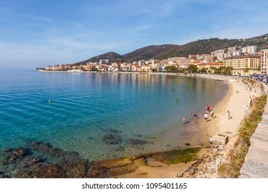 People on Saint Francois beach, Ajaccio, Corsica, France