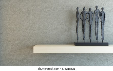 people on the shelf' with concrete wall 3d rendering