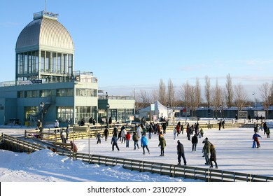 People on skating ring in winter