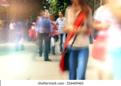 People On Street out of focus , Unrecognizable Crowd out of Focus