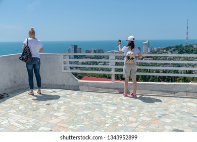 People on the viewing platform in Sochi. Russia