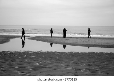 People on a winter beach