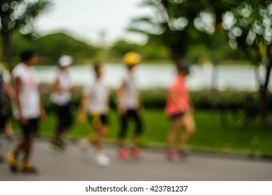 People in park blurred