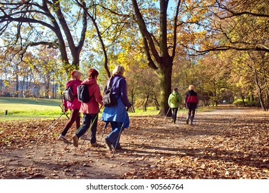 People in the park - Nordic walking