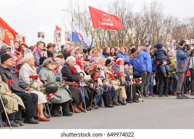 People participating in the meeting. Kirishi, Russia - 9 May, 2017. Holding a festive rally dedicated to the Victory Day.