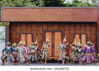 People played Khon Thai traditional performance due to The Coronation of Thai Rama X King at Royal Grand Palace - Bangkok, Thailand - 2019, 28 May