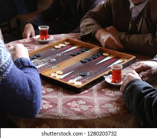 people playing backgammon.turkey